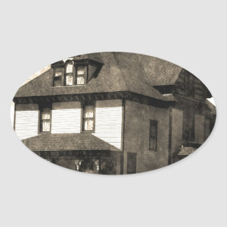 Stately Antique House Oval Stickers