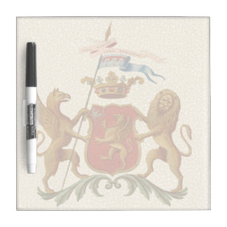 Stately Heraldic Badge with Griffin and Lion Dry Erase Board