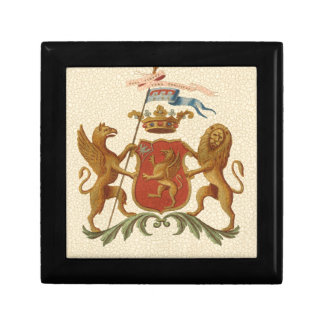 Stately Heraldic Badge with Griffin and Lion Small Square Gift Box