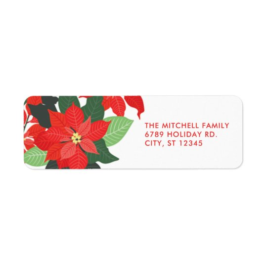 Statement Floral Poinsettia Christmas Address Labe Return Address Label