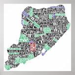 Staten Island Typographic Map, New York City Print