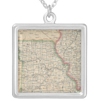 States of Illinois, Missouri, and Arkansas Silver Plated Necklace
