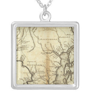 States of Maryland and Delaware Silver Plated Necklace