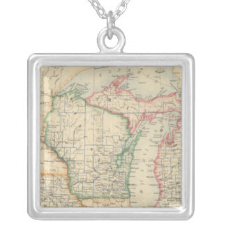 States of Michigan, Wisconsin and Iowa Silver Plated Necklace