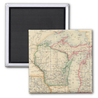 States of Michigan, Wisconsin and Iowa Square Magnet