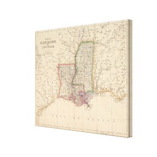 States of Mississippi and Louisiana Canvas Print