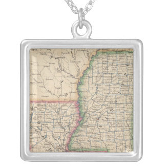 States of Mississippi and Louisiana Silver Plated Necklace