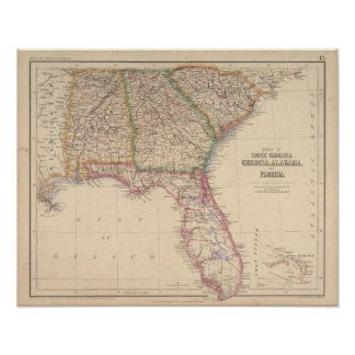 States of South Carolina, Georgia, and Alabama Poster