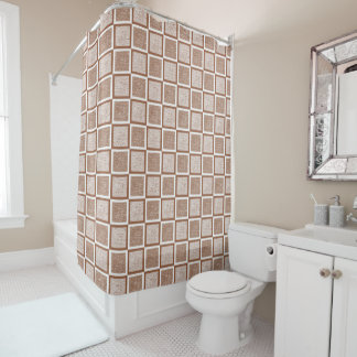 Static Brown and White Squares Shower Curtain