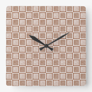 Static Brown and White Squares Square Wall Clock