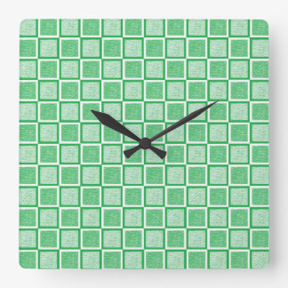 Static Green and White Squares Square Wall Clock
