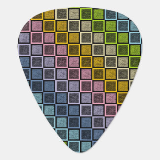 Static Pastel Rainbow Squares Black Guitar Pick