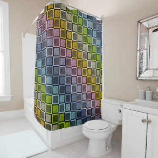 Static Pastel Rainbow Squares Black Shower Curtain
