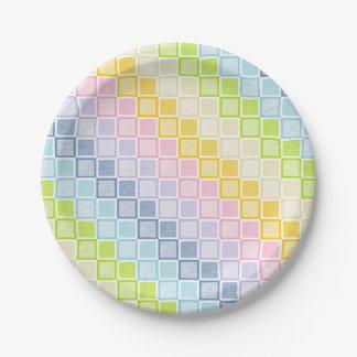 Static Pastel Rainbow Squares Paper Plate