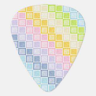 Static Pastel Rainbow Squares Plectrum