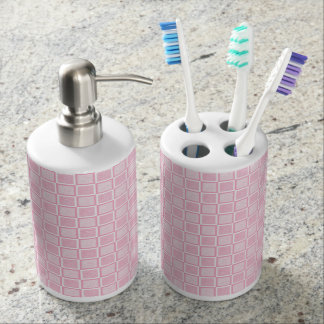 Static Pink and White Squares Soap Dispenser And Toothbrush Holder