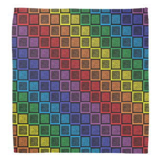 Static Rainbow Squares Black Bandana