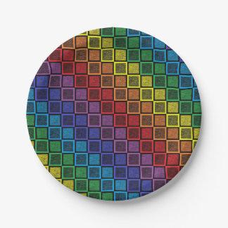 Static Rainbow Squares Black Paper Plate