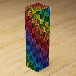 Static Rainbow Squares Black Wine Bottle Box