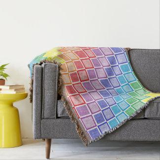 Static Rainbow Squares Throw Blanket