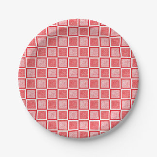 Static Red and White Squares Paper Plate