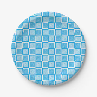 Static Turquoise and White Squares Paper Plate