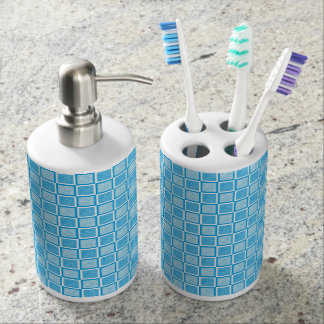 Static Turquoise and White Squares Soap Dispenser And Toothbrush Holder