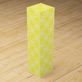 Static Yellow and White Squares Wine Gift Box