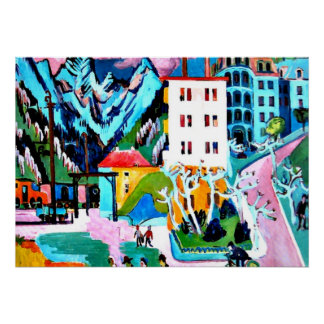 Station in Davos, Ernest Ludwig Kirchner painting Poster