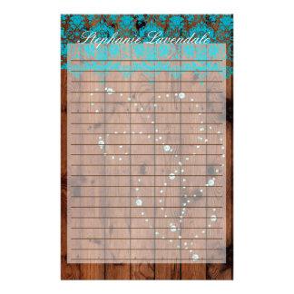 Stationary Barnwood Turquoise Damask Diamond Stationery