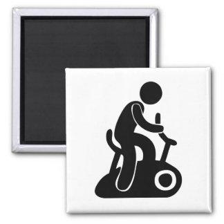 Stationary Bike Square Magnet