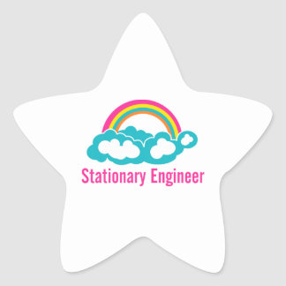 Stationary Engineer Cloud Rainbow Star Sticker