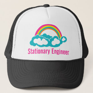 Stationary Engineer Cloud Rainbow Trucker Hat
