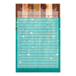 Stationary Shenandoah Wood Rusted Turquoise Stars Stationery