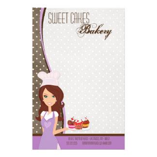 Stationery - Brunette Baker Purple Cup Cakes Bake