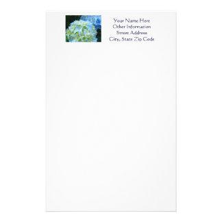 Stationery Letterhead Custom Blue Hydrangea Flower