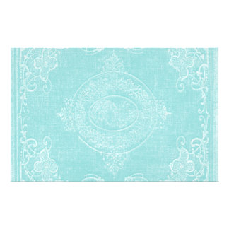Stationery Paper Vintage Book Cover Icy Aqua Blue