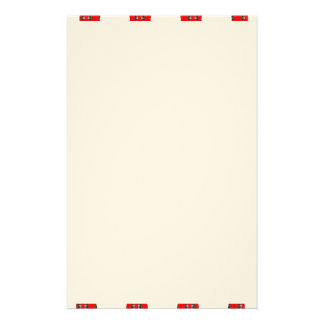 Stationery with Red and White Abstract Border