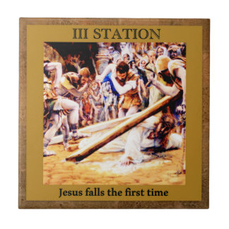Stations of the Cross #3 of 15 Jesus Falls 1st X Tile