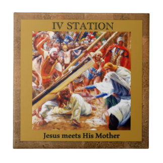Stations of the Cross #4 of 15 Jesus Meets Mother Tile