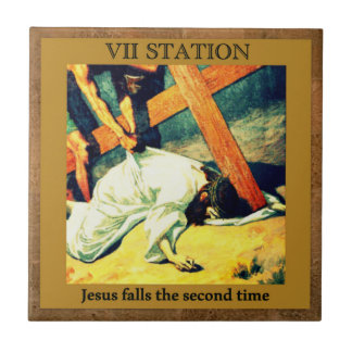 Stations of the Cross #7 of 15 Jesus falls 2nd X Tile