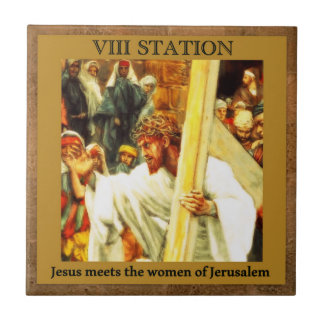 Stations of the Cross #8 of 15 Jesus meets women Tile