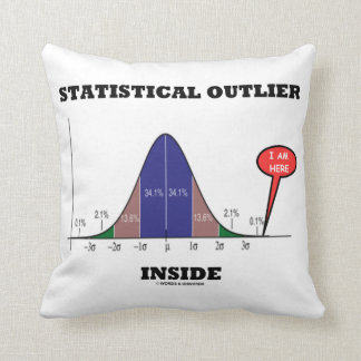 Statistical Outlier Inside (Bell Curve Humor) Cushion