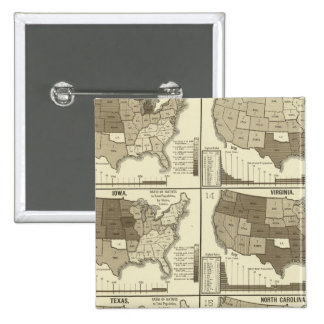 Statistical United States lithographed maps 15 Cm Square Badge