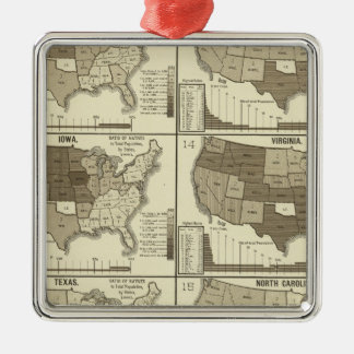 Statistical United States lithographed maps Christmas Ornament