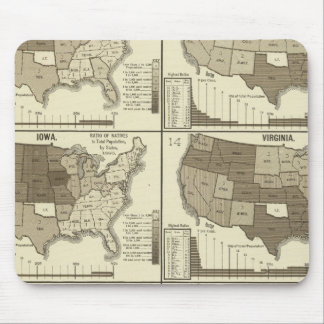 Statistical United States lithographed maps Mouse Mat
