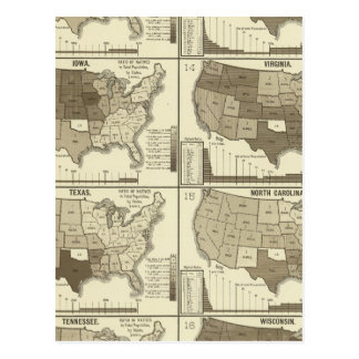 Statistical United States lithographed maps Postcard
