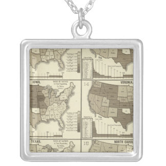 Statistical United States lithographed maps Silver Plated Necklace