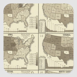 Statistical United States lithographed maps Square Stickers