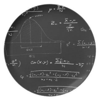 Statistics blackboard dinner plates